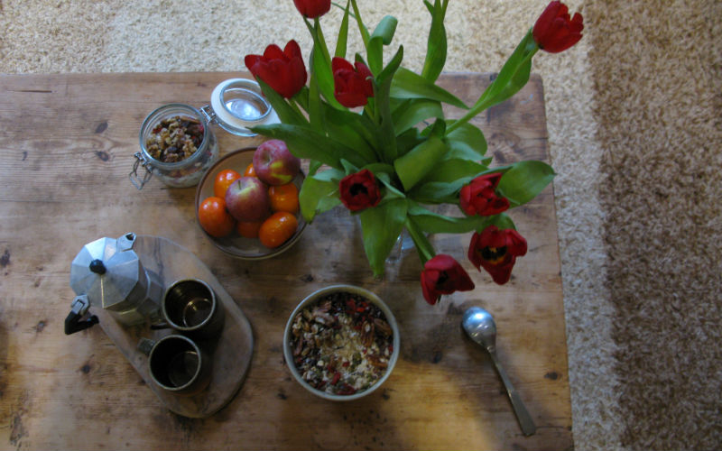 breakfast and tulips on a table