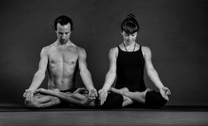two people doing lotus posture