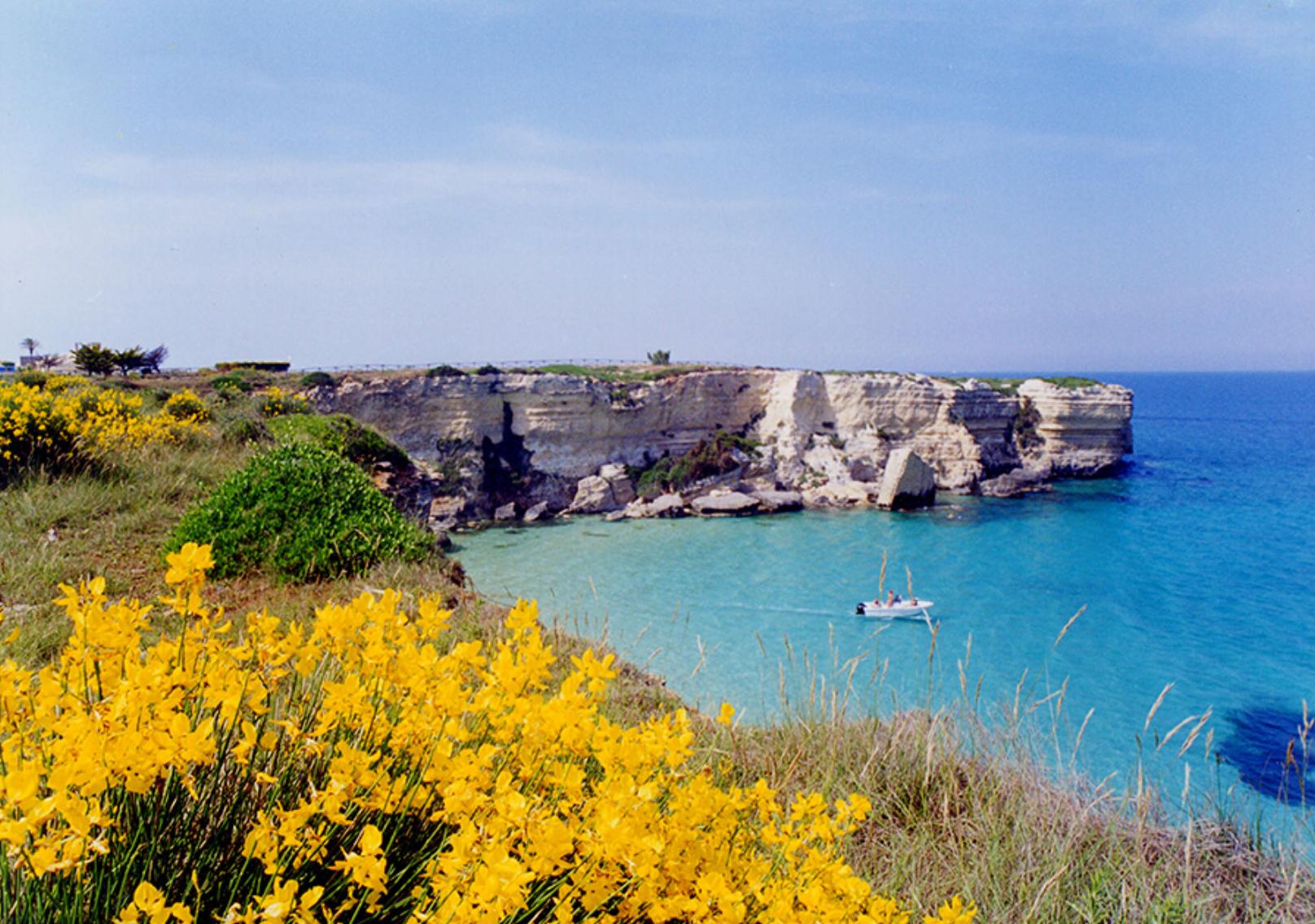 coastline with cliffs in salento Italy